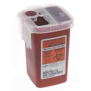 1 qt red medline sharps container